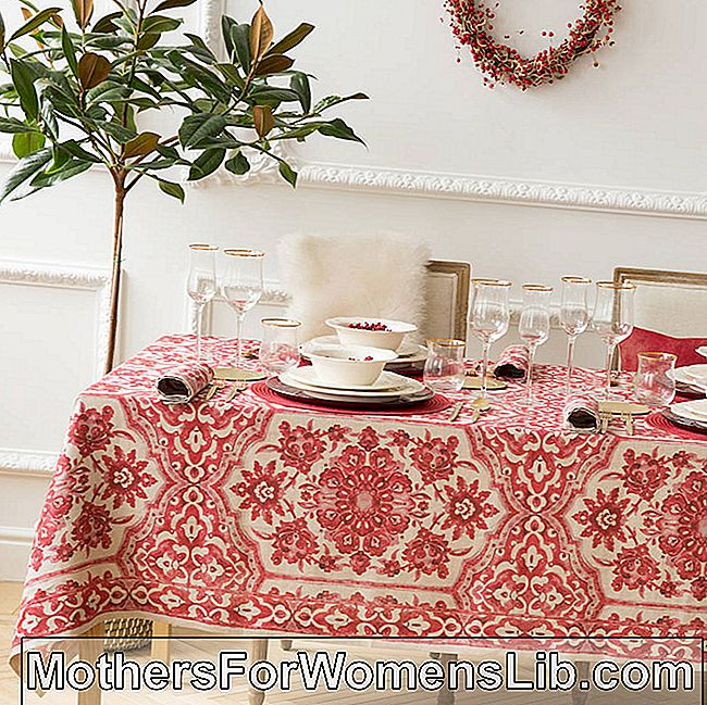 Mantel con decoraciones rojas.