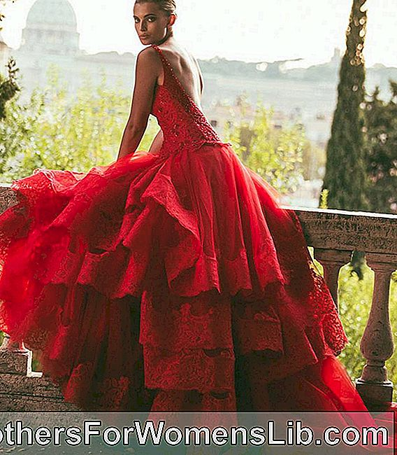Robe à volants rouge Alessandro-Angelozzi-Couture